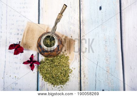 Traditional yerba mate tea popular in latin america.Top view with copy space