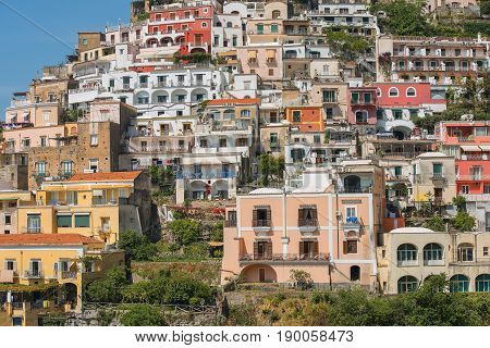 scenic view of Positano, cliffside village at the Amalfi Coast, Campania region in Italy