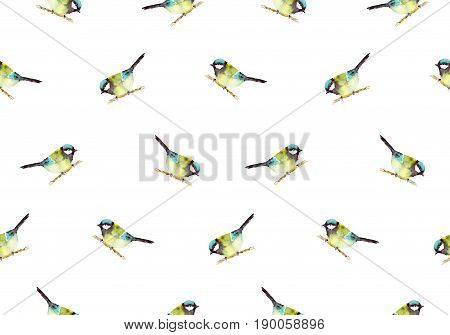 Birds seamless pattern. Titmouse on a branch. Birds on a white background. Raster seamless pattern for Wallpaper, paper, textiles, clothing, bedding, decor, party, holiday