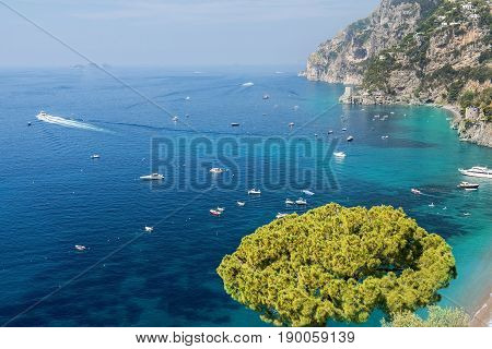 scenic view of Positano and the Amalfi Coast, Campania region in Italy