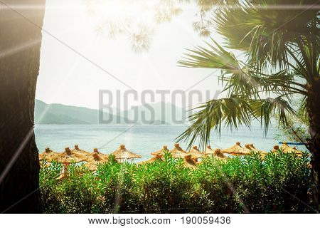 beach umbrellas on a background of sea and mountains