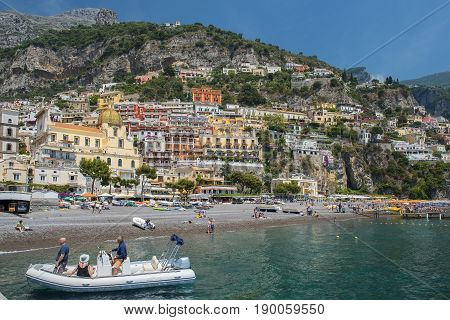 picturesque view of Positano, cliffside village at the Amalfi Coast, Campania region in Italy
