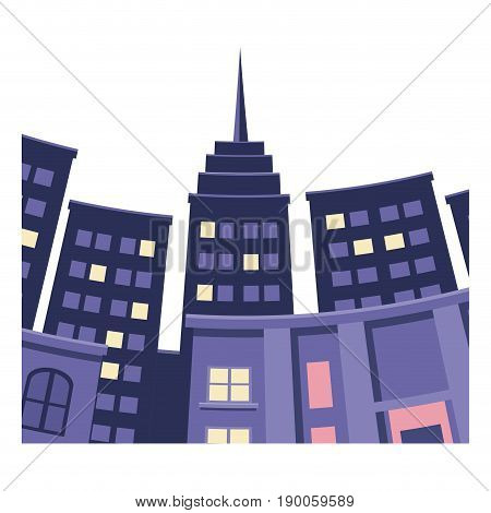 skyscrapers of city perspective from under the bottom vector illustration