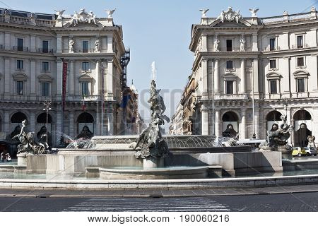 Rome, Italy - April 13, 2017: The Fountain of the Naiads on Piazza della Repubblica