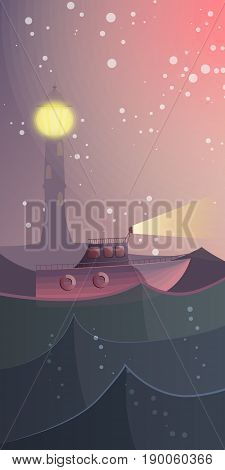 What A Small Boat Did Not Dream Of Conquering An Endless Ocean. Vector Illustration.