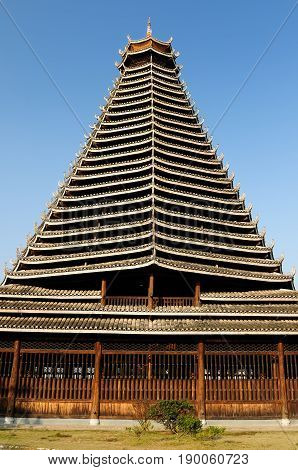 Drum tower of Sanjiang is the first tower of Dong ethnic. It is a wooden structure as the symbol of Sanjiang County. China