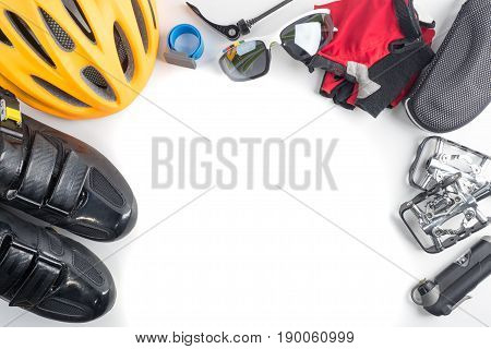 Bike and cycling sport accessories border and frame copy space white background
