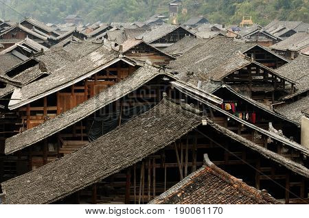 China Zhaoxing - gorgeous Dong village is packed whit traditional wooden structures several wind-and-rain bridges and remarkable drum towers Guizhou province