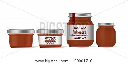 Vector illustration red glass jar for baby food realistic bank on white background. Organic baby food puree. Mock up with template design label.