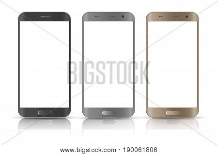 Realistic smartphone. Three realistic vector illustrations phone. Device set. Realistic smartphone gold, gray and black cellphone