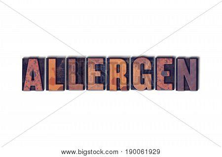 Allergen Concept Isolated Letterpress Word