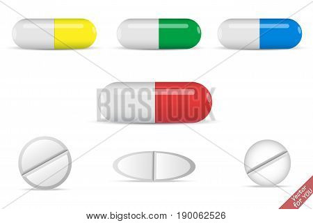 Colorful capsules set. White pills. Pill capsules set. Medicine