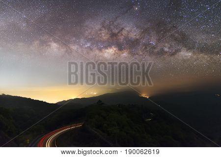 Milky way over Landmark pagoda in doi Inthanon national park at Chiang mai, Thailand.