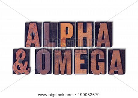 Alpha And Omega Concept Isolated Letterpress Word