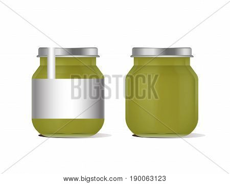 Vector illustration green jar for baby food realistic bank on white background. Organic baby food puree. Mock up with template design label.