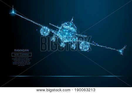 Polygonal airliner low poly. Vector mesh spheres from flying debris. Thin line concept. Blue structure style illustration