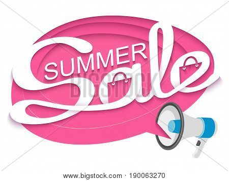 Summer sale. Sale banner with loudspeaker and calligraphic inscription in comic speech bubble. Vector illustration made in paper cut out style.