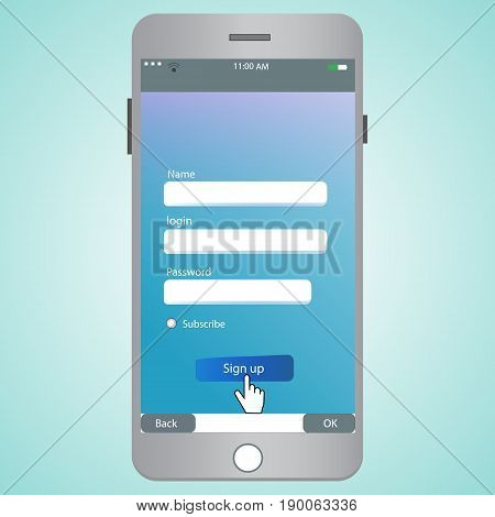 Login form for mobile. Vector illustration phone