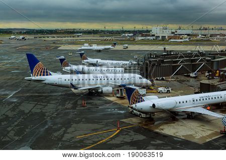 Newark, Nj - June 07: Terminal A Of Newark Liberty International Airport In New Jersey To Aircraft O
