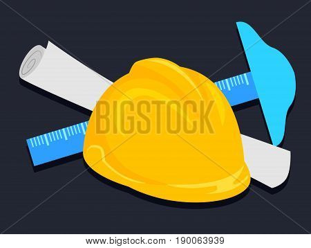 Vector Illustration of Engineer Helmet T-square and Paper