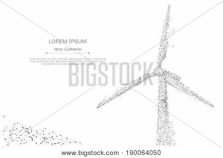 Abstract mash line and point windmill on white background with an inscription. Green energy starry sky or space, consisting of stars and the universe. Vector business illustration