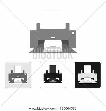 Printer icon vector illustration set on white background