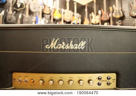 Close up of a Marshall guitar amplifier in a music retail shop
