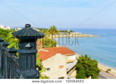 a view of the Mediterranean sea and the Punta del Miracle promontory, in Tarragona, Spain, seen from the Balcony of the Mediterranean