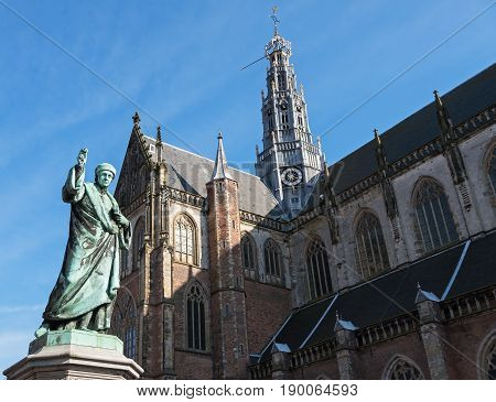 Statue of Laurens Janszoon near the Grote Kerk (Great Church) on the central square of Haarlem, Netherlands