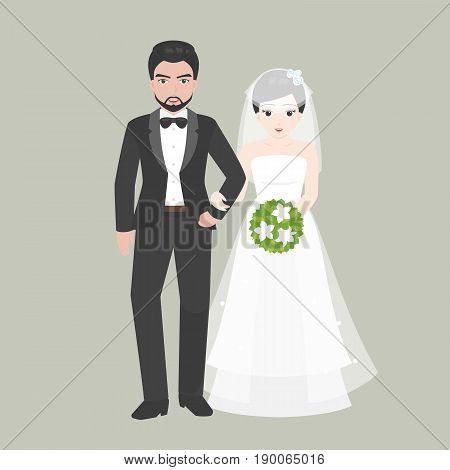 Groom walk arm in arm with Bridge, lover couple in wedding costume concept, flat design vector