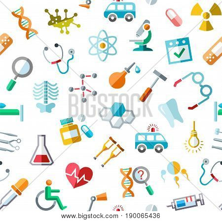 Medicine, colored background, seamless, white, vector. Colored icons of medical services, and tools on a white field. Vector background.