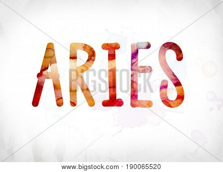 Aries Concept Painted Watercolor Word Art