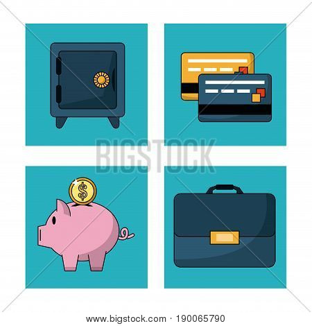 white background with safe box and credit cards and money box and executive briefcase in square frames vector illustration