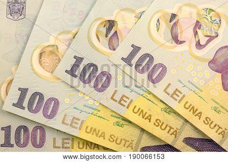 Close up Romanian currency note, LEI or LEU, Romania