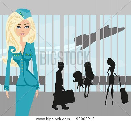 Beautiful stewardess and tourists at the airport , vector illustration