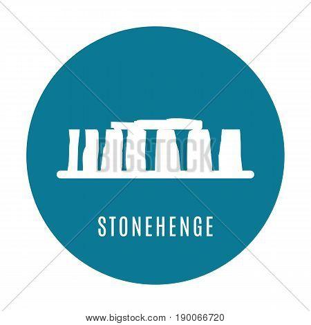 Stonehenge icon isolated on white background. Vector illustration for prehistoric religious landmark architecture. Ancient monument rock. Heritage England UK tourism. Blue Stonehenge circle logo