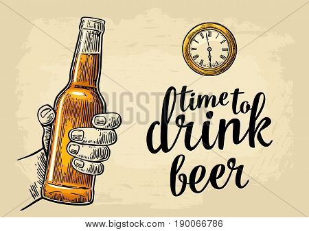 Male hand holding bottle beer and antique pocket watch. Vintage vector engraving illustration for web poster invitation to party. Time to Drink lettering. Isolated on beige background.