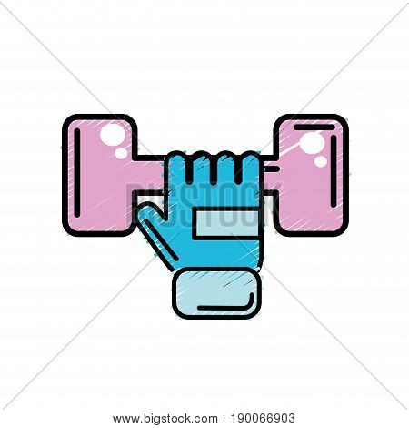 dumbel with glove to do exercise vector illustration