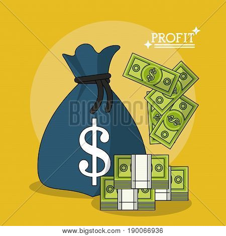 colorful poster of profit with money bag and stack money bills vector illustration