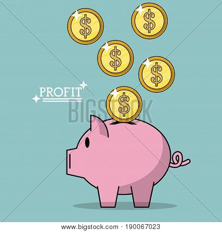 colorful poster of profit with money coins falling in piggy bank vector illustration