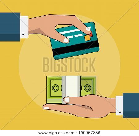colorful background of transaction in cash and credit card vector illustration