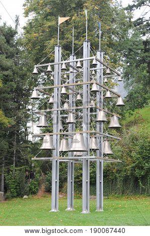 Bells of a glockenspiel at Sisikon on Switzerland