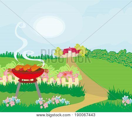 Illustration of backyard barbecue on rural landscape