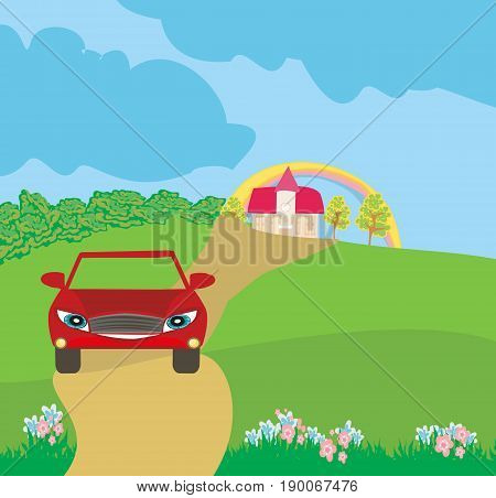Car cartoon character on a trip , vector illustration