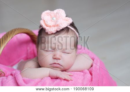 Newborn sleeping with knitted flower on head. Infant baby girl closeup lying on pink blanket in basket. Cute portrait of new child.