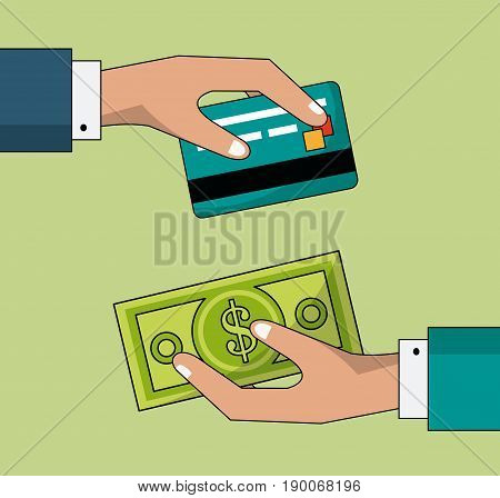 colorful background of transaction in cash and credit card between two persons vector illustration