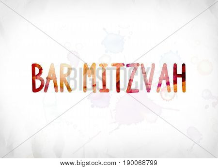 Bar Mitzvah Concept Painted Watercolor Word Art
