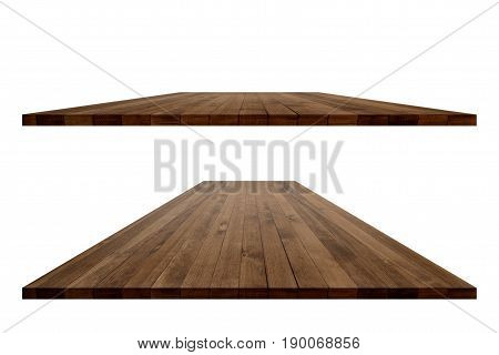 Empty wooden table perspective with clipping path for product placement or montage with focus to table. Wooden board surface.