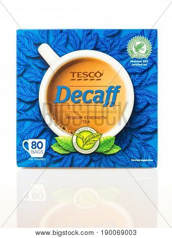 Box Of Tesco Decaff Tea On A White Background.