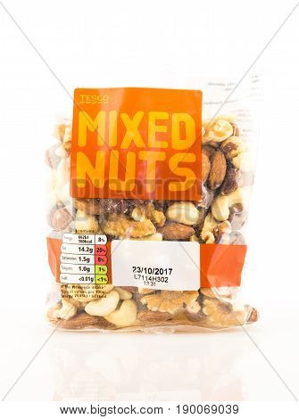 Bag Of Tesco Mixed Nuts On A White Background.